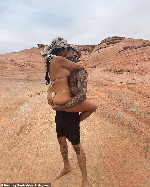 'I'm very much over my ex,' Shanna recently told PEOPLE. 'It's been a long time. However, do I think some of the PDA that he's doing with her is weird? [Yes].' Travis and Kourtney are seen here on a recent trip together
