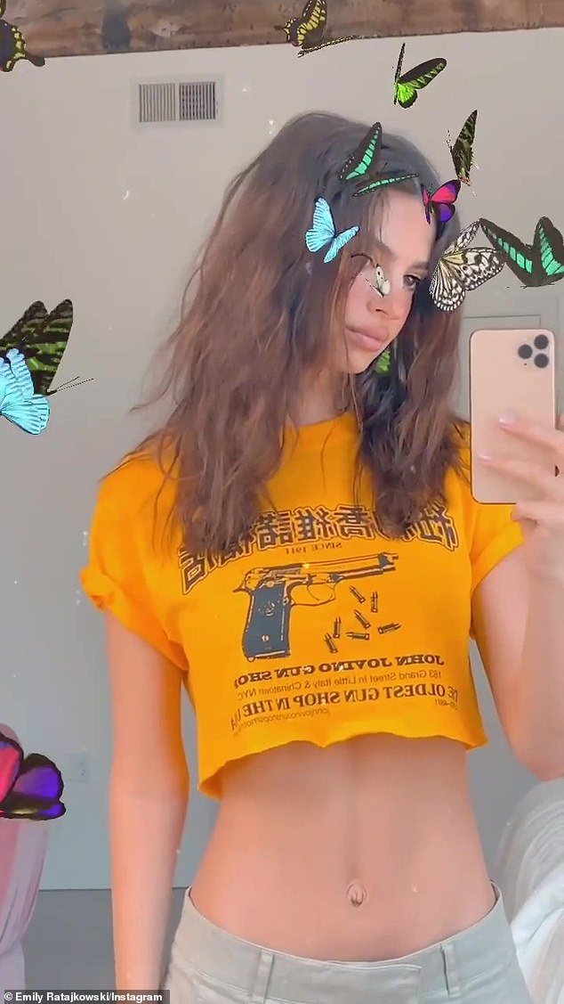 Fly High: The Gone Girl actress is never afraid to use a filter as she featured one with butterflies all over the short clip shared with her 27.4 million subscribers