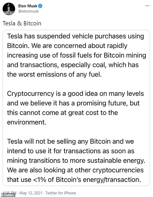 Tweets: Last Wednesday, Tesla announced that it would no longer accept Bitcoin as payment, citing environmental concerns