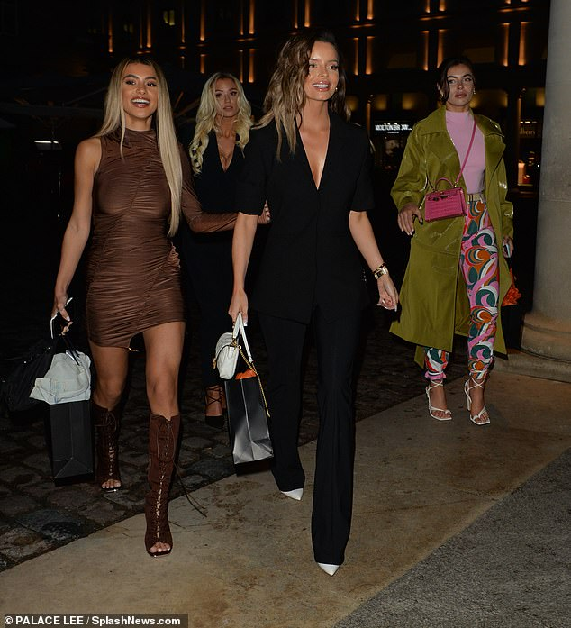 Friends: Maura was joined by fellow Love Island girlfriends Francesca Allen and Joanna Chimonides for the launch of her new shoe collection