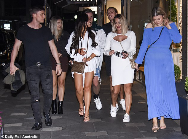 Night out: Upon exiting the Double Bay hot spot the reality stars were seen chatting as they made their way to their separate Ubers