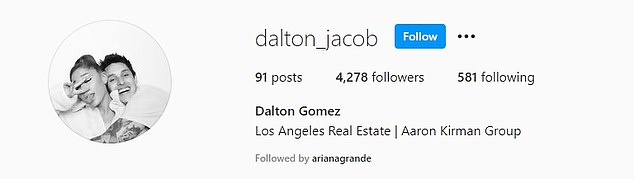 Keeping a low-profile: Dalton has kept his Instagram private since the announcement of his relationship with the pop star, though she does follow him