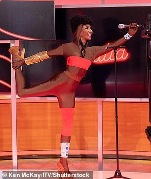 Uncanny:Sinitta transformed into Grace Jones in a tiny red bikini on GMB on Tuesday