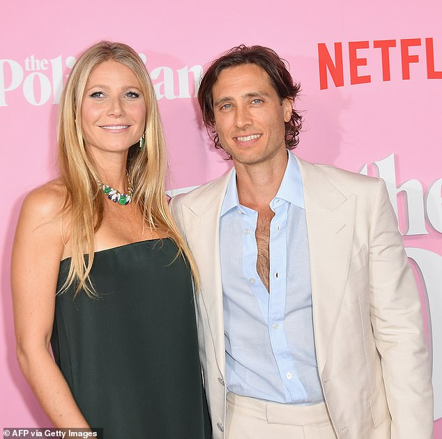 Love: In 2018, Gwyneth remarried Glee producer Brad Falchuk.  Photographed together in 2019