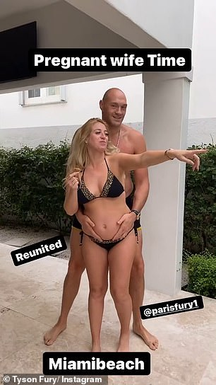 PDA: Tyson simply captioned the video: 'Pregnant wife time - reunited' and tagged Paris in the post