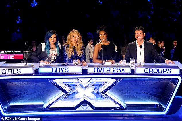 Across the Pond: Instead, Simon appeared on the show's US edition and appeared on the jury panel alongside Demi Lovato, Paulina Rubio and Kelly Rowland (pictured)