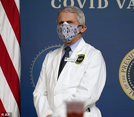 Dr Fauci has been criticized for continuing to wear a mask - or two - in settings the CDC has said it' safe for vaccinated people like him to go maskless in
