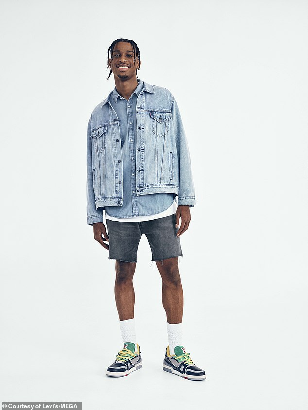 Sporty: Baksetball player Shai Gilgeous-Alexander wore a faded jacket with a matching shirt and grey shorts
