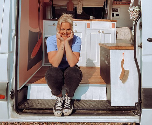 Amy Nicholson, 33,bought aMercedes Sprinter van for £11,000 and spent a further £10,000 fitting it out as a home