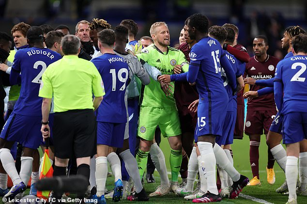 A scuffle broke out near the sidelines in the dying moments at Stamford Bridge on Tuesday