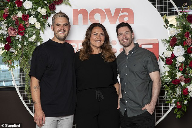 Fake:'When the microphones went off and I was talking to her, one-on-one either she was fake on air or fake off air because she was being quite polite to me,' Bryce said of the radio host. Chrissie pictured with MAFS groomsSam Carraro (left) and Patrick Dwyer (right)