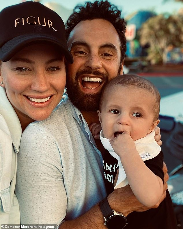 Praise!He praised Jules for her tireless work on her underwear and lingerie brand Figur, adding: 'I trust that all your dreams will come true cause you deserve them' (Cam and Jules are pictured with their son, Ollie, 7 months)