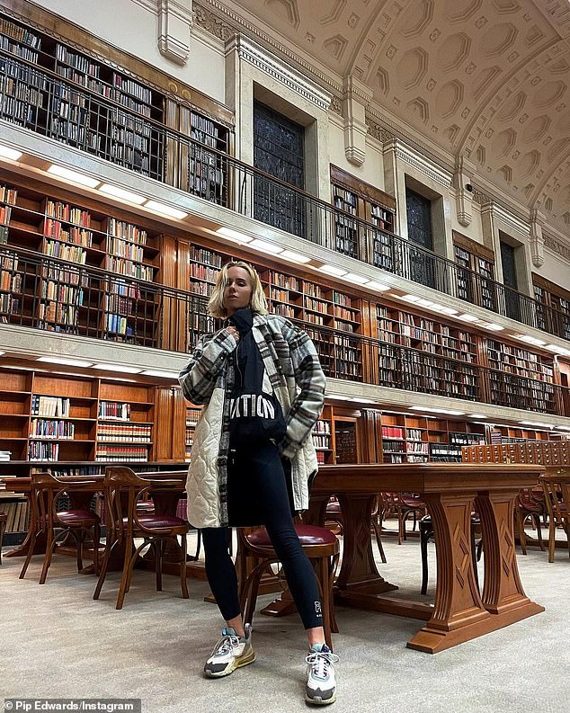 Before the trip:Prior to her trip, Pip combined sports and academia for a photoshoot at the State Library Of New South Wales on Wednesday evening