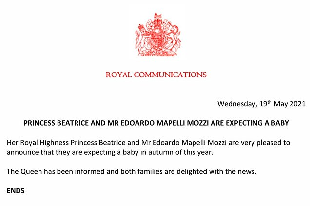 The Queen has been informed and both families are delighted with the news, Buckingham Palace announced this morning (pictured)