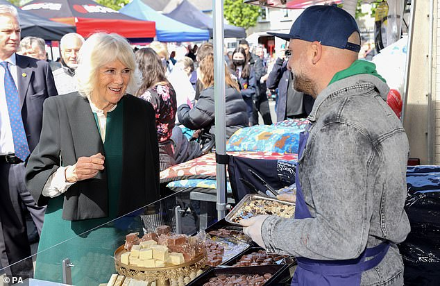 The Duchess of Cornwall during a visit to Bangor Market where she walked around and meeting stall holders at the open-air market