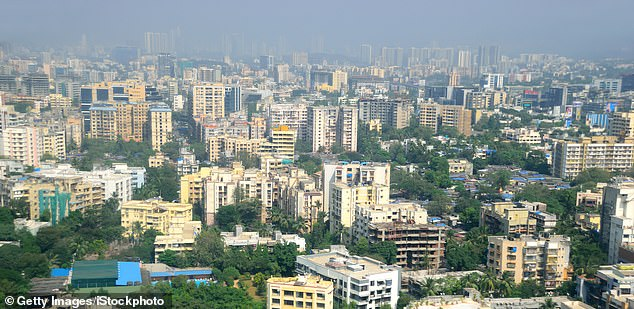 The crammed in housing of Mumbai's suburbs in western India, which have suffered an uncontrollable surge in Covid-19 cases