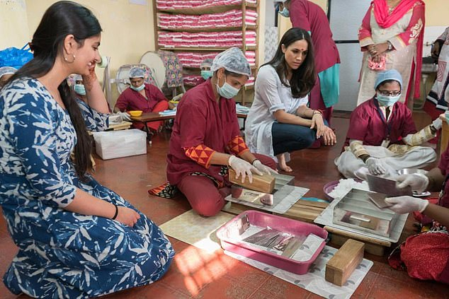 Meghan Markle is pictured in January 2017 on a trip to Delhi and Mumbai in India for US aid organisation World Vision