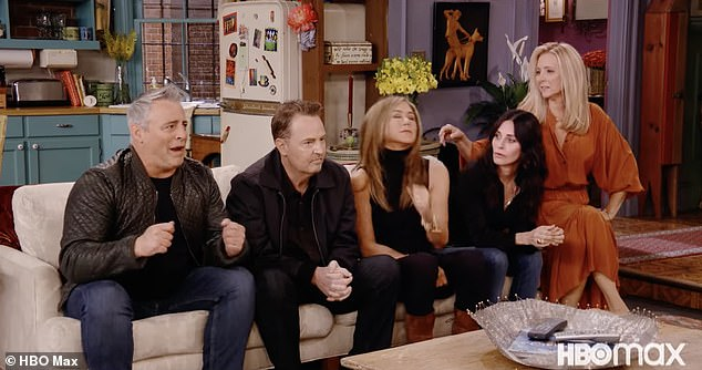 Memories: The opening scene was certainly familiar as Jennifer Aniston joined Courteney Cox and Matt LeBlanc on their old couch for an updated trivia game with David Schwimmer, Lisa Kudrow and Matthew Perry
