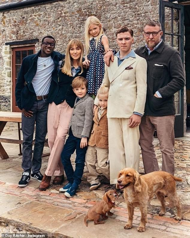 Loved ones: Rocco (pictured with siblings David Banda, Levi, Rivka, and Rafael Ritchie) spends most of his time in the English capital, where his father Guy resides with wife Jacqui Ainsley