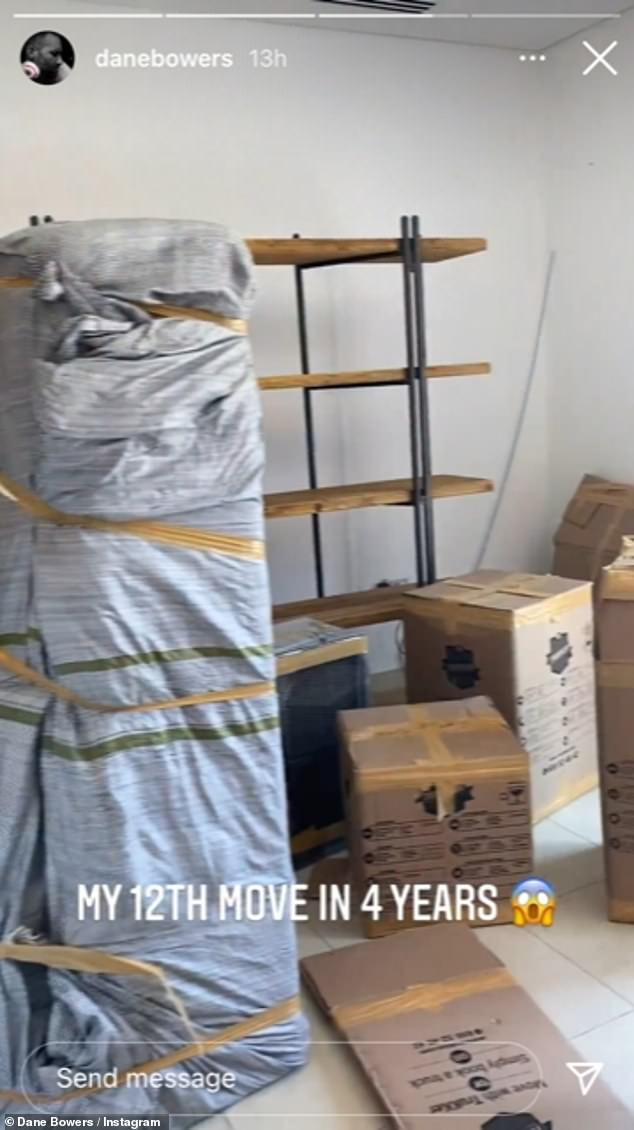 All packed up and ready to go: He then showed off his old house being packed up with cardboard boxes carrying the same black logo Laura had at hers