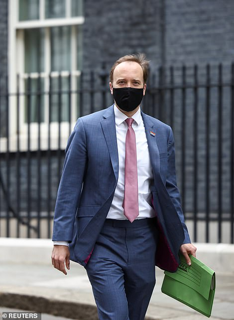 Matt Hancock (pictured today outside Downing Street) told a Downing Street press conference last night that no decision on whether to continue with June 21 easings would be taken until next month
