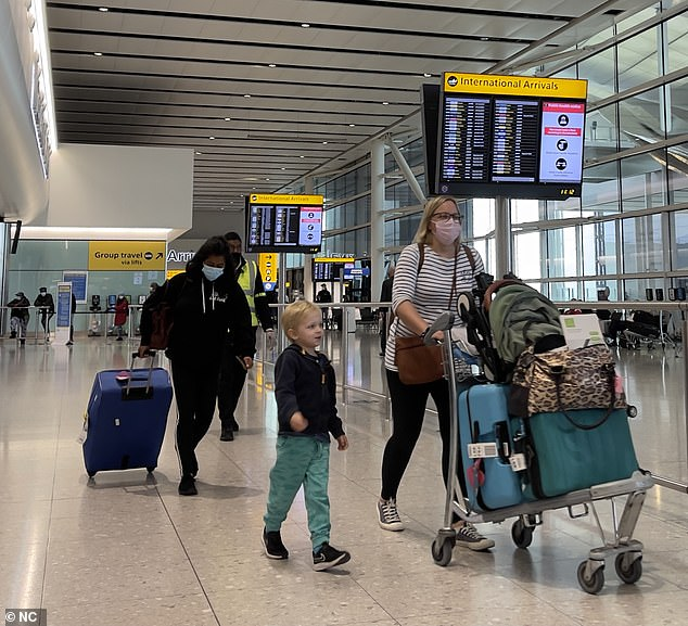 The GMB Union said they had been told workers are livid with the government's border policy and fear for people's safety. Pictured: The airport today