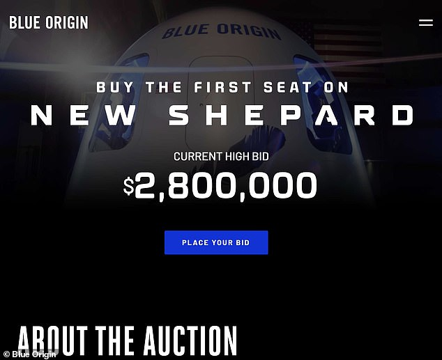 The highest bid to ride on the New Shepard rocket is now $2.8 million, as shown in this shot of Blue Origin's website