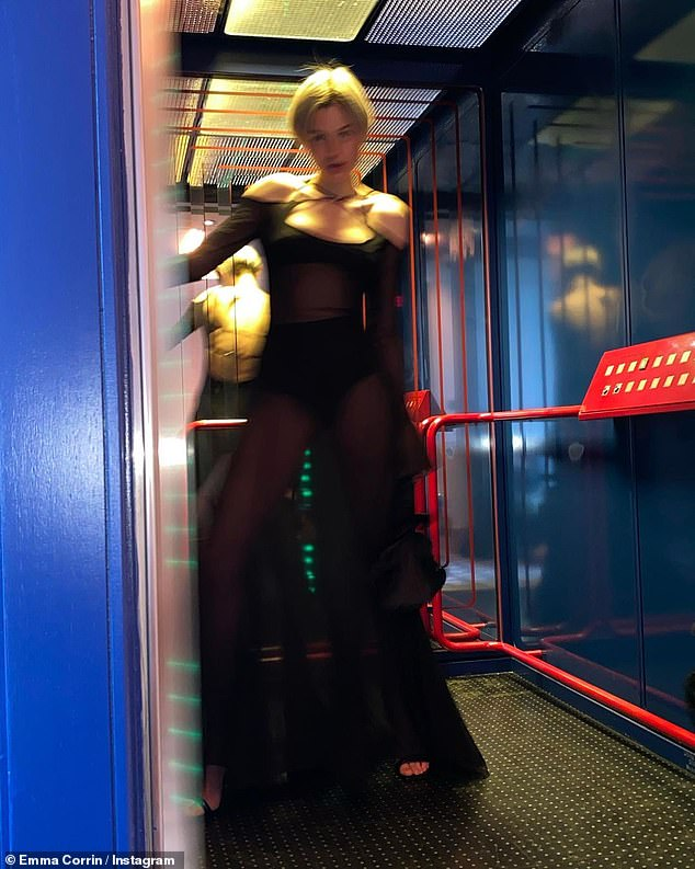 Racy:The actress oozed confidence as she flaunted her figure in the see-through garment as she larked about in the images shared as she attended a pal's birthday dinner