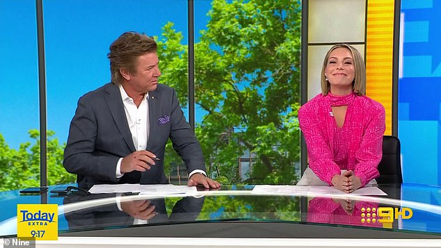 A-list encounter: Newly single Alex Rodriguez 'slid' into Australian Today Extra host Belinda Russell's DMs on Instagram on Friday, after his split from Jennifer Lopez. Pictured: Belinda, 42, with her co-host Richard Wilkins