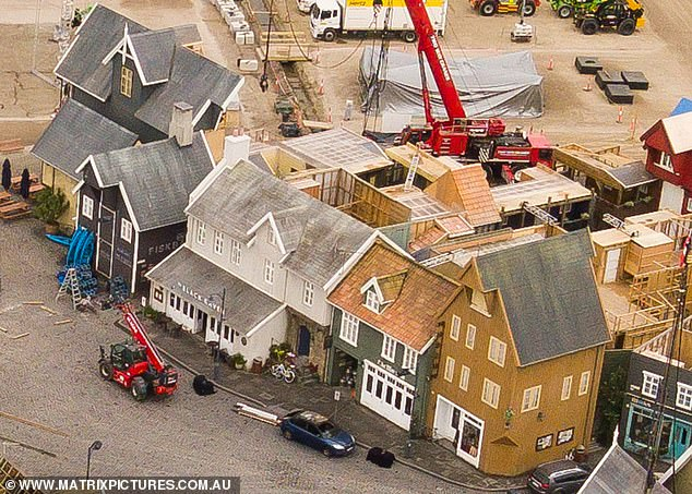Elaborate:Aerial photographs show trucks and machinery building structures on a large chuck of land