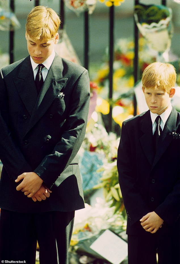 Trauma: Harry said he felt like history was repeating itself when Megan felt suicidal, reminding him of the death of his mother. He is pictured, right, with his brother, William, at Princess Diana's funeral in 1997