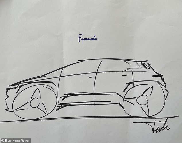 Pope Francis signed a drawing of the car, which is slated to go into production in November 2022