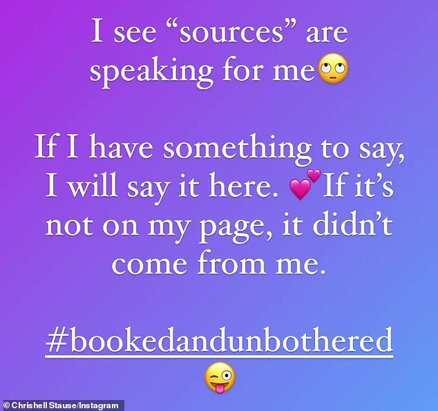Speaking out: Chrishelle took to her Instagram story to clarify that she was 'booked and unbothered,' while adding that if she had something to say on the situation it would come from her social media page