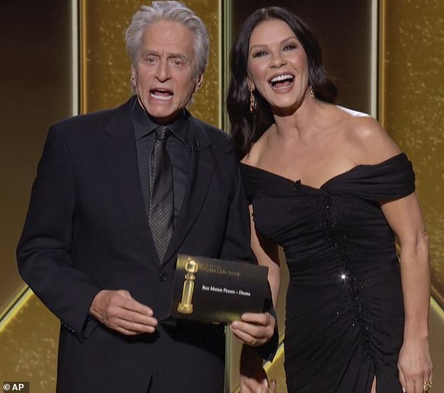 Still going strong: Michael and Catherine, who are separated by a quarter-century in age, have been married since 2000 and are pictured at this year's Golden Globes