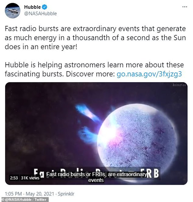 FRBs can give off as much energy in one-thousandth of a second as the sun does the entire year, the official NASA Hubble Twitter account tweeted