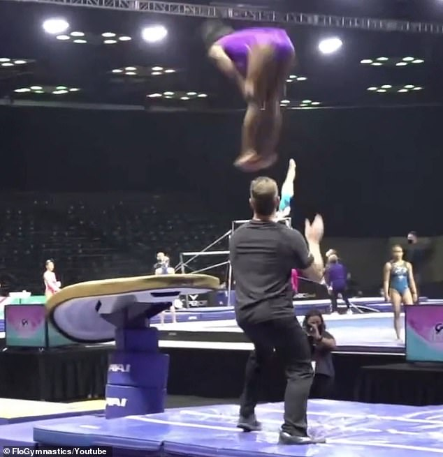 The GOAT: Simone Biles showed off an incredibly risky vault that has never been landed by a female gymnast while training for the US Classic competition on Friday