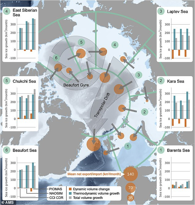 The findings were revealed by the European Space Agency (ESA), which used satellite data to calculate changes in the volume of Arctic sea ice between 2002 and 2019 (pictured)