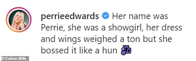 Good one: Perrie shared a selection of the images to her Instagram profile, penning: 'Her name was Perrie, she was a showgirl, her dress and wings weighed a ton but she bossed it like a hun'