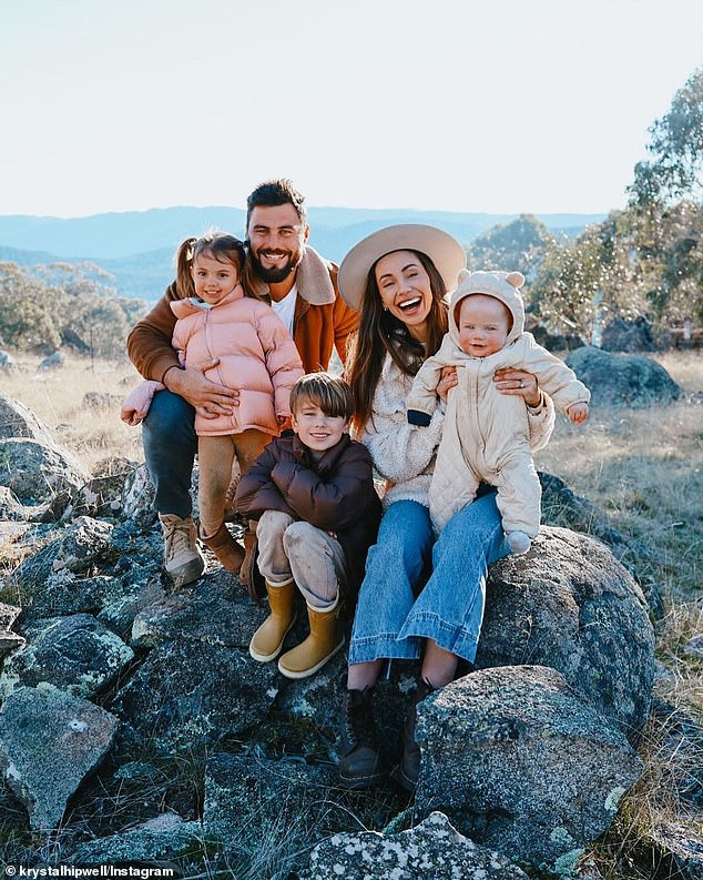 'We bought a farm!' Former Big Brother star Krystal Hipwell and her property developer husband Neil purchased a 270-acre farm to a build luxury snow chalet near the Perisher Valley ski village.She shared a family photo her family looking very happy as they all sat on a boulder
