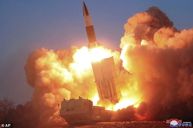 A rocket launch is shown from North Korea on March 21, 2020