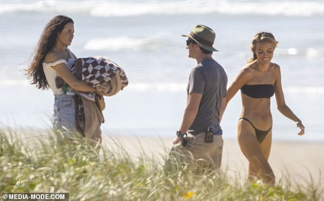 Siblings: Also pictured filming scenes was Lauren's sister Jessica (left), who chatted with a crew member