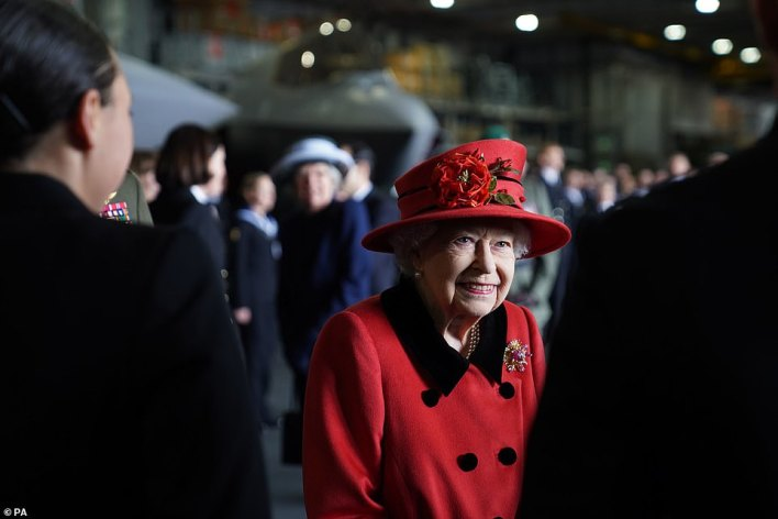 Her Majesty was greeted by the ship's commanding officer Captain Angus Essenhigh, and Commodore Stephen Moorhouse, commander of the UK Carrier Strike Group (CSG), as she arrived by helicopter on board the aircraft carrier at Portsmouth Naval Base