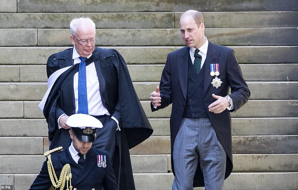The Duke of Cambridge with Moderator Lord Wallace (left) during the opening ceremony of the General Assembly of the Church of Scotland