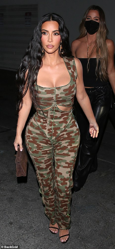 Newly single: Kim, who filed from divorce from her husband of nearly seven years Kanye West, looked ready to mingle as she embraced the single life
