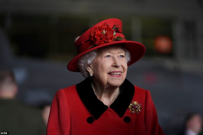 The Queen was seen smiling as she spoke with Royal Navy personnel during a tour of the HMS Queen Elizabeth on Saturday