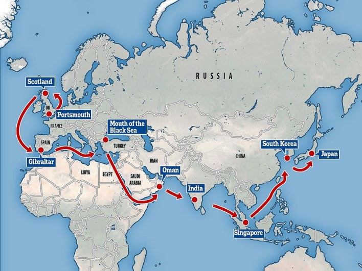 This is the route theCarrier Strike Group (CSG) will take, reaching Japan this summer after travelling via a number of hotspots that will upset Russia and China