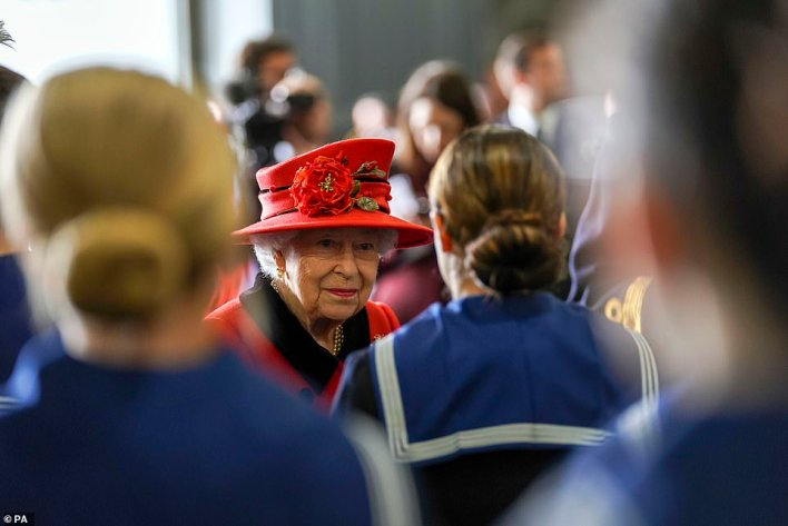 She appeared to be in a social manner as she greeted crowds of Royal Navy personnel, who were preparing for the warship's departure from Portsmouth later that same day