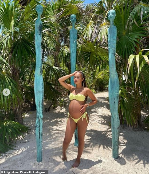 Stunning:Leigh-Anne also revealed her blossoming baby bump in chic yellow swimwear last month as she detailed her challenging pregnancy symptoms