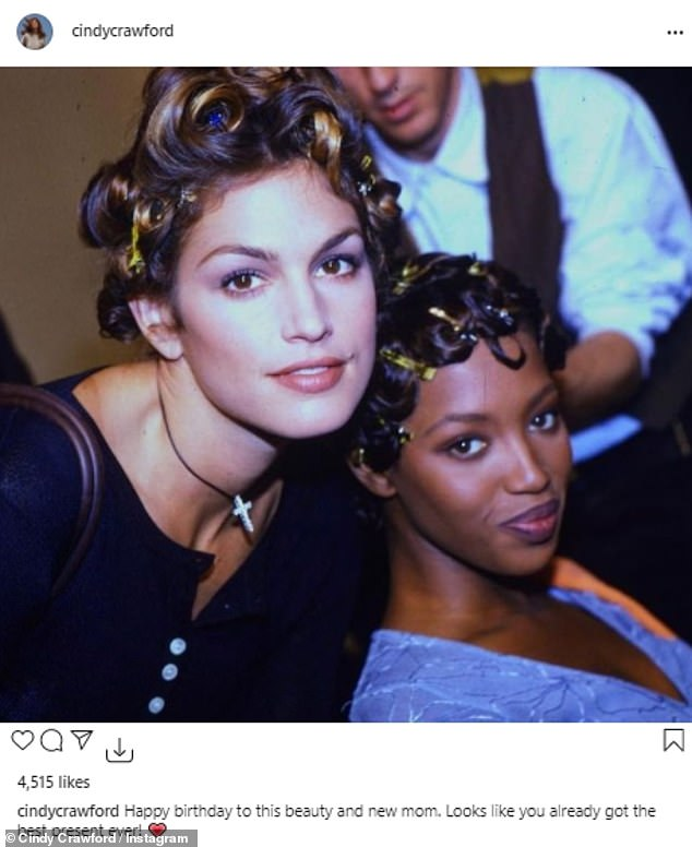 Old friends:Veteran supermodel pal Cindy Crawford led the charge as she shared a photo of the two from their early modeling days backstage at a fashion show