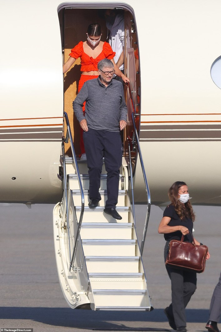 He was seen disembarking his private jet, sporting a grey long-sleeved polo, dark trousers and his signature dark-rimmed glasses on Friday at Newark Airport
